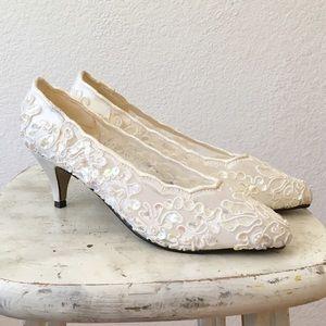 80s Sequin Beaded Bridal Cocktail Pump High Heels